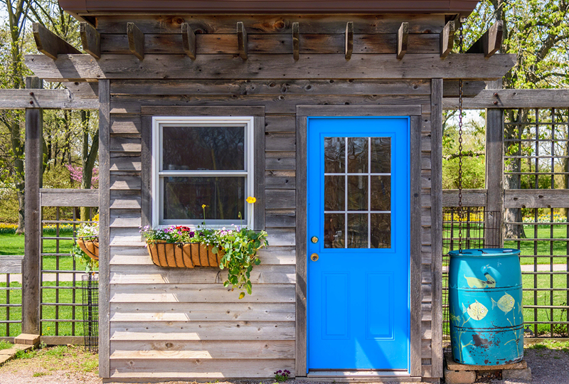 Guest House with blue door.