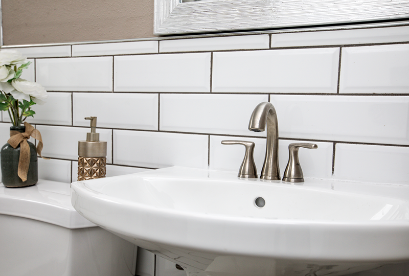 Large Tiles work well in the Bathroom to make the space look larger