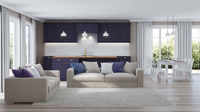Modern Interior with dark purple kitchen, Color Psychology