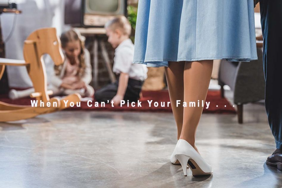 Woman in blue dress, text, you can't pick your family
