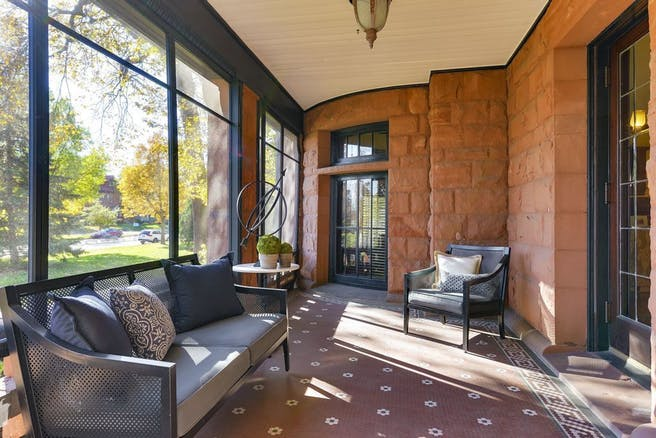 Inside the property, the front porch