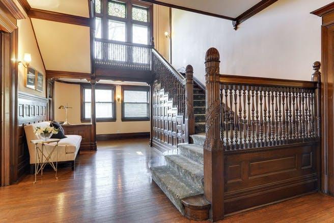 Summit Hill Property inside, beautiful wood staircase