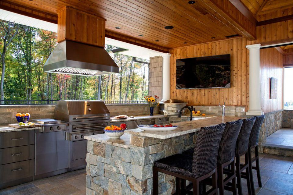 Warm wood and stone in kitchen